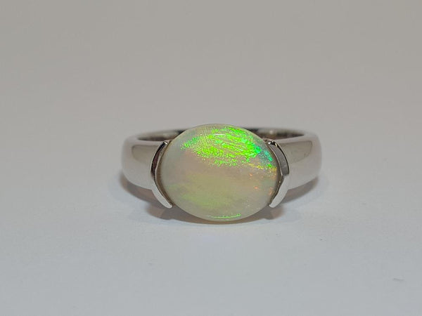 White Opal Ring set in St Silver     10*12mm