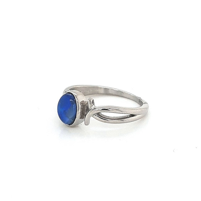 Australian Black Opal set in a solid Stainless steel Ring Setting