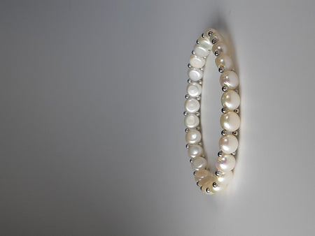 Coated South Sea Pearl Bracelet set in Rhodium Plated     10mm