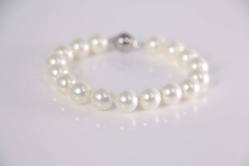 Coated South Sea Pearl Pearl Bracelet set in Rhodium Plated     10mm