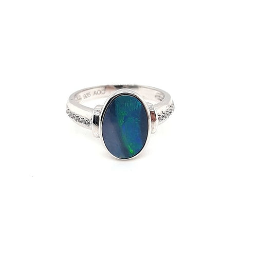 Doublet Opal Freeform Ring set in ST SILVER with Cubic Zirconia