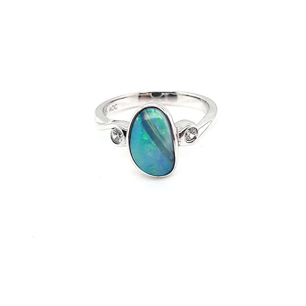Australian Opal Doublet Ring set in 925 Sterling Silver with Cubic Zirconia