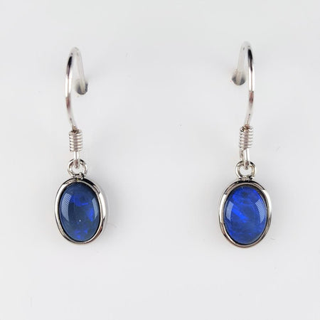 White Opal Earrings set in St Silver 6x4    6x4mm