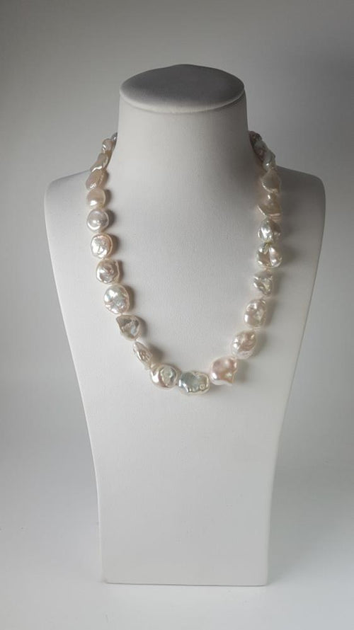 Keshi Pearl Strand set in St Silver