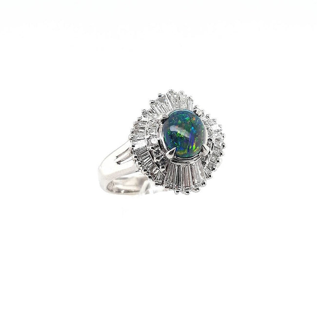 Black Opal Ring set in Platinum 0.73 carats with 42 x diamonds total 0.94 carats