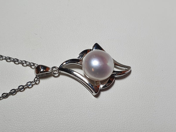 Pure Pearl Pendant set in St Silver     10mm