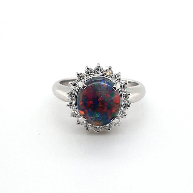 Black Opal Ring set in Platinum 2.03 carats with 76 x diamonds total 0.43 carats