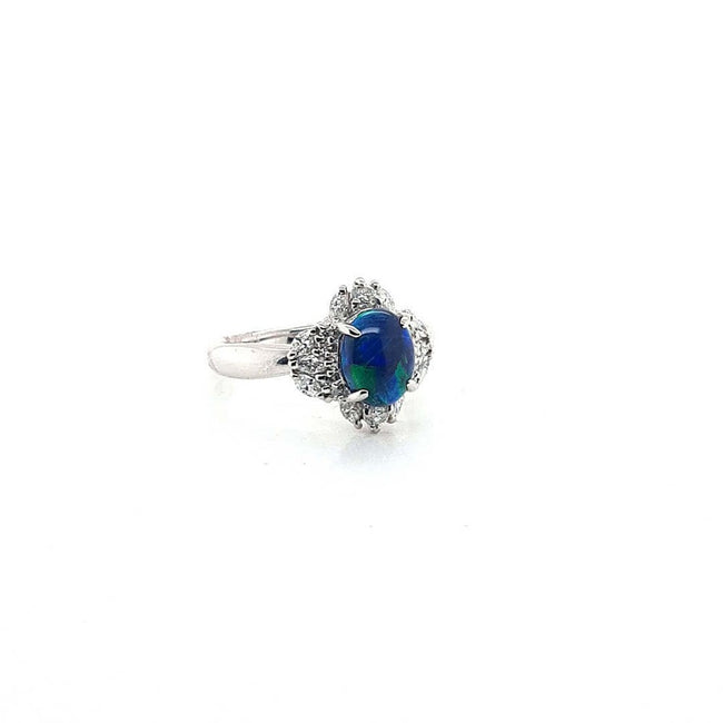 Black Opal Ring set in Platinum 1.48 carats with 20 x diamonds total 0.51 carats