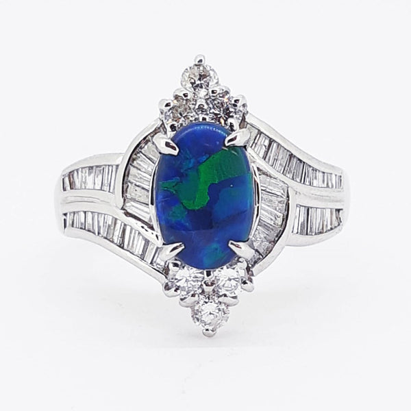 Australian Black Opal 1.04 Carats Ring set in Platinum PT 900 with 48 x G-H/Vvs-Si1 Diamonds Weighing 0.900 Carats