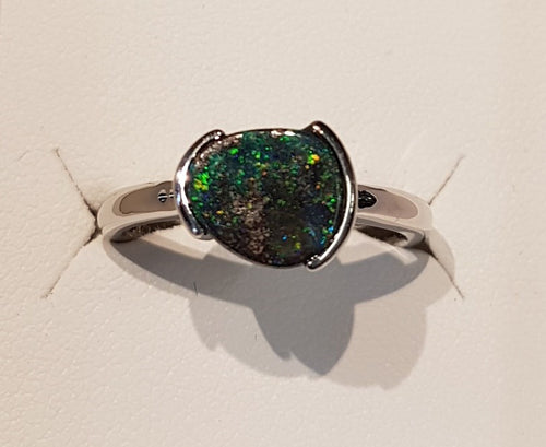 Boulder Opal Ring set in St Silver 1.3Ct