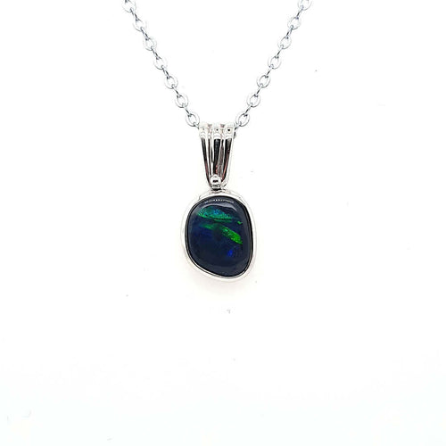 Australian Black Opal Pendant set in 925 Sterling Silver