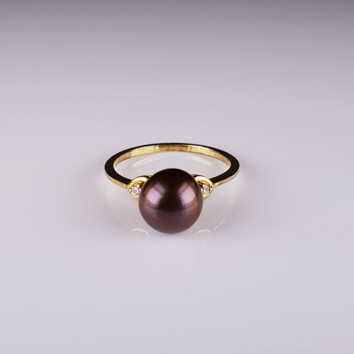 Pure Pearl 1mm Ring set in ST SILVER Cubic Zirconia