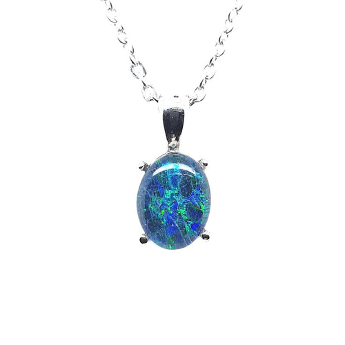 Triplet Opal 9X7mm Pendant set in St St