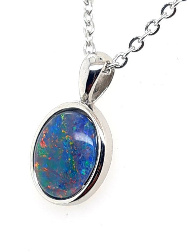 Triplet Opal Pendant 10x8mm and Earrings 6x4mm set in Stainless Steel