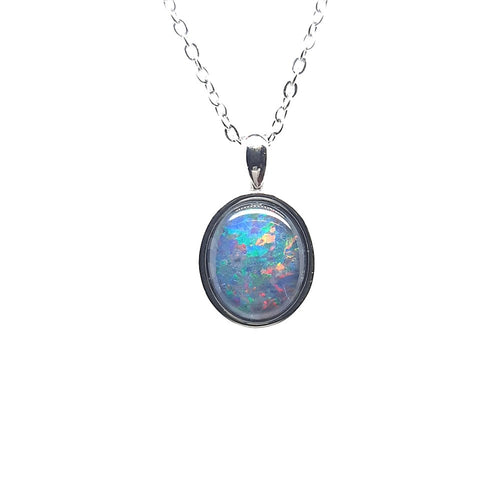Australian Opal Triplet 12 x 10 mm Pendant set in Stainless steel
