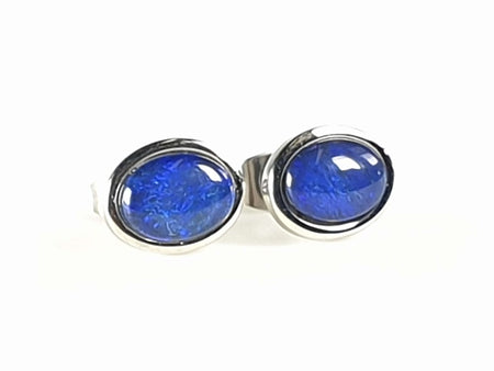 Black Opal 0.7ct 6x4mm set in 10K Yellow Gold Earrings