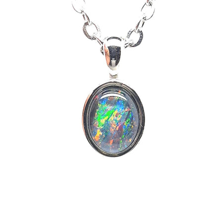 Triplet Opal 8x6mm Pendant set in Stainless Steel  with Cubic Zirconia
