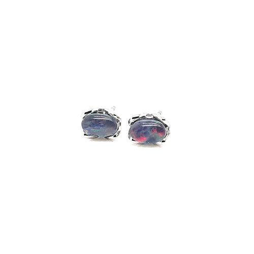 Triplet Opal 6x4mm Earrings set in Stainless Steel