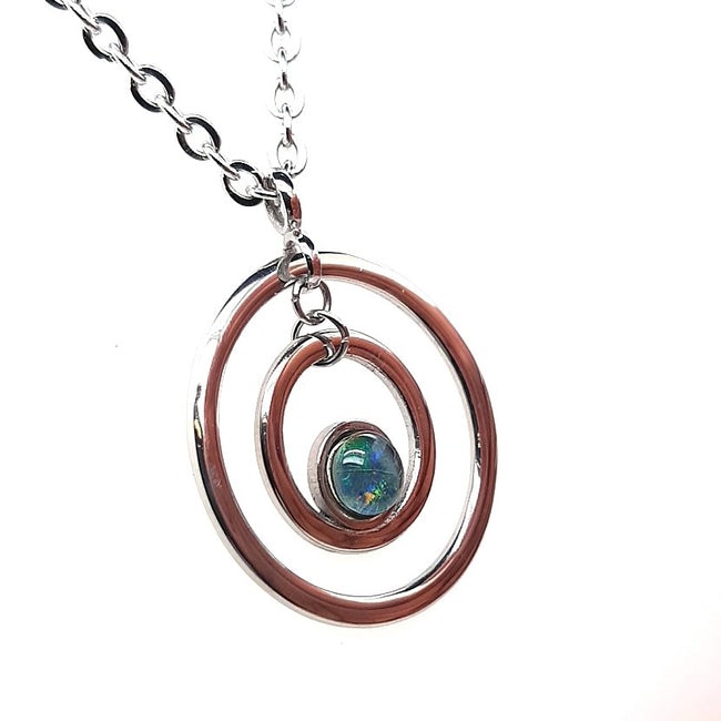 Triplet Opal Pendant set in Stainless Steel 5 mm