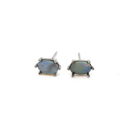 White Opal  0.54ct set in 14K Yellow Gold Earrings