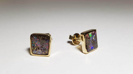 Boulder Opal 8.1ct set in 14K Yellow Gold Earrings