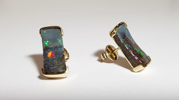 Boulder Opal Earrings set in 14K Yellow Gold 12.25Ct