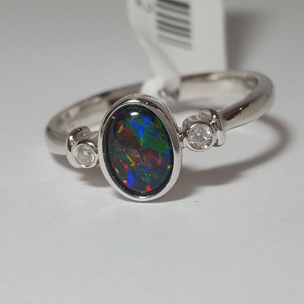 Australian Opal Triplet 7 x 5 mm Ring set in 925 Sterling Silver with Cubic Zirconia