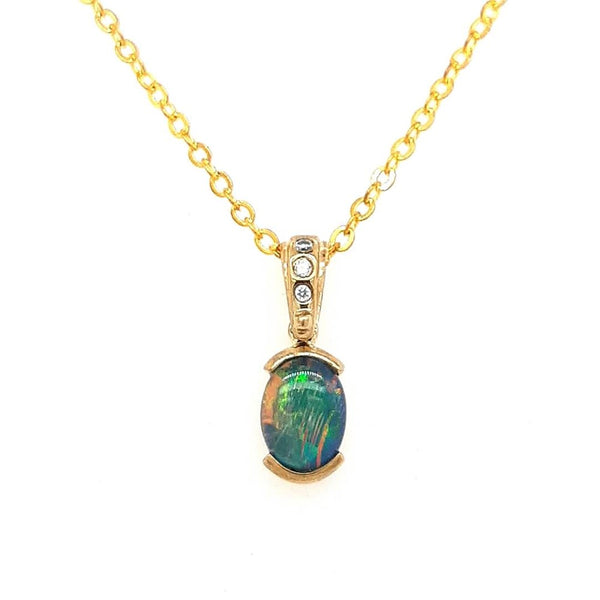 Triplet Opal Pendant set in 9 Karat Yellow Gold 8x6mm with 3x Diamonds total 0.03 carat