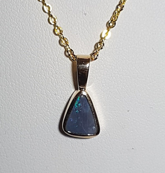Boulder Opal Pendant set in 14K Yellow Gold