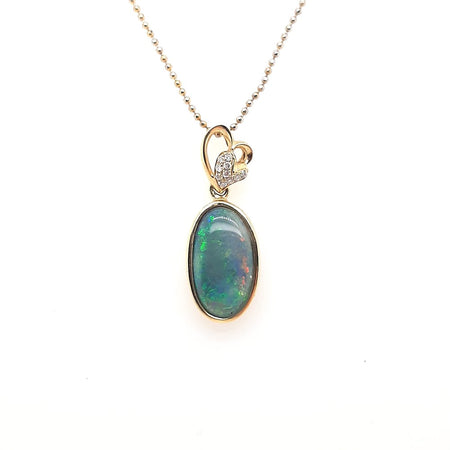 Black Opal Pendant set in 14K Yellow Gold 6.9Ct