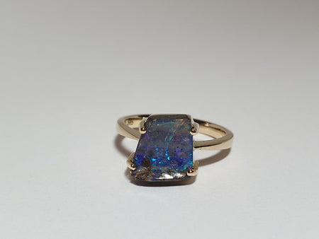 Boulder Opal Ring set in 14K Yellow Gold 0.85Ct  10x Diamond 0.095Ct