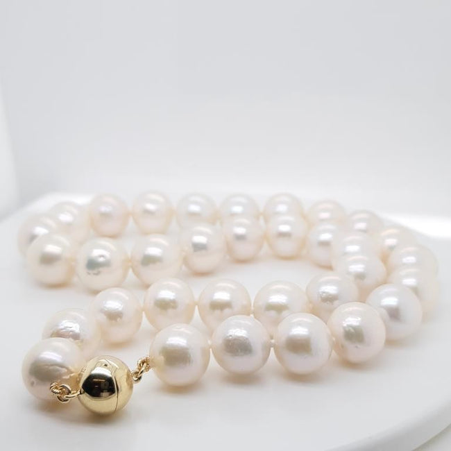 Edison Pearl 12-14 mm Strand set in 9 Karat Yellow Gold
