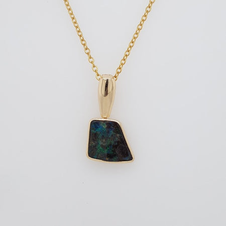 Boulder Opal 3.3ct.Pendant set in 14K Y GOLD  18x7mm