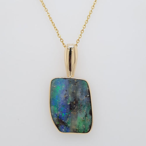 Boulder Opal 25.2ct.Pendant set in 14K Y GOLD  29x22mm