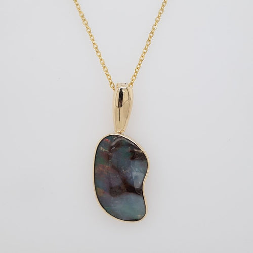 Boulder Opal 20.6ct.Pendant set in 14K Y GOLD  28x18mm