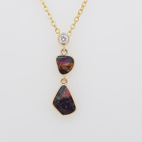 Boulder Opal 1.7ct Pendant set in 14K Y GOLD  with 1 Di total 0.11ct