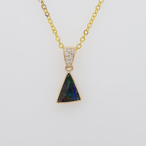Boulder Opal 0.95ct Pendant set in 14K Y GOLD  with 10 Di total 0.06ct