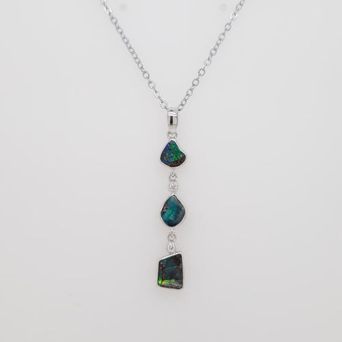 Boulder Opal 2.25ct.Pendant set in 14K W GOLD