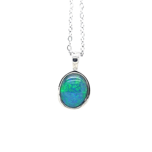 Australian Opal Triplet 11 x 9 mm Pendant set in Stainless Steel