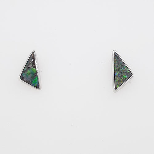 Boulder Opal 1.4ct.Earrings set in 14K W GOLD