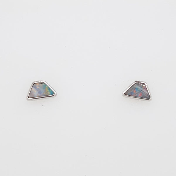 Boulder Opal 0.55ct.Earrings set in 14K W GOLD