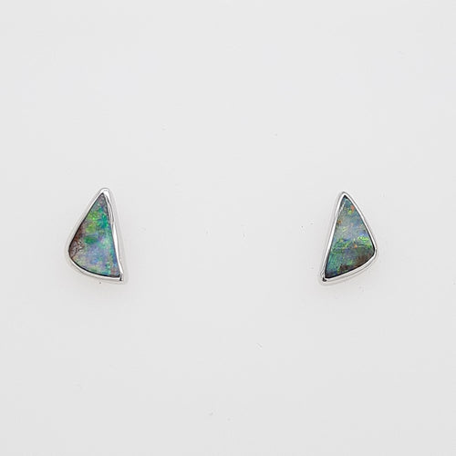Boulder Opal 1ct.Earrings set in 14K W GOLD