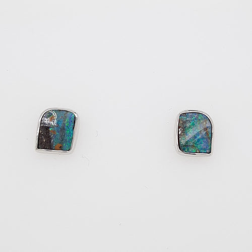 Boulder Opal 2.15ct.Earrings set in 14K W GOLD