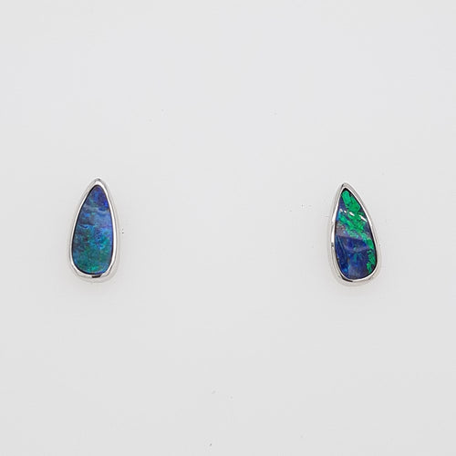 Boulder Opal 1.1ct.Earrings set in 14K W GOLD