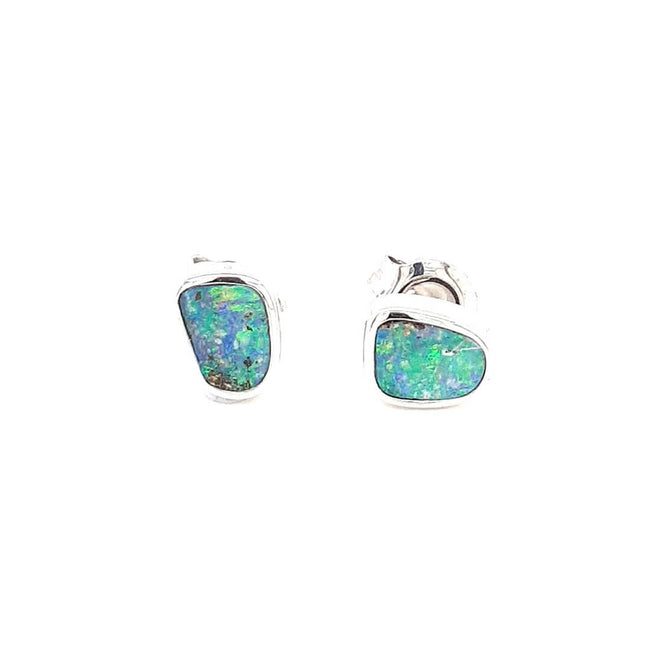 Boulder Opal 0.75 carat Earrings set in 14 Karat White Gold