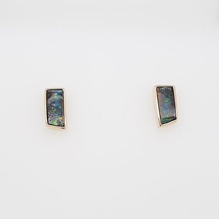 Boulder Opal Earrings set in 14K Yellow Gold 0.75Ct
