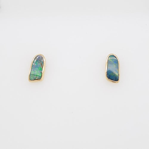 Boulder Opal 1ct.Earrings set in 14K Y GOLD