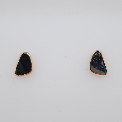 Boulder Opal 1.25ct.Earrings set in 14K Y GOLD