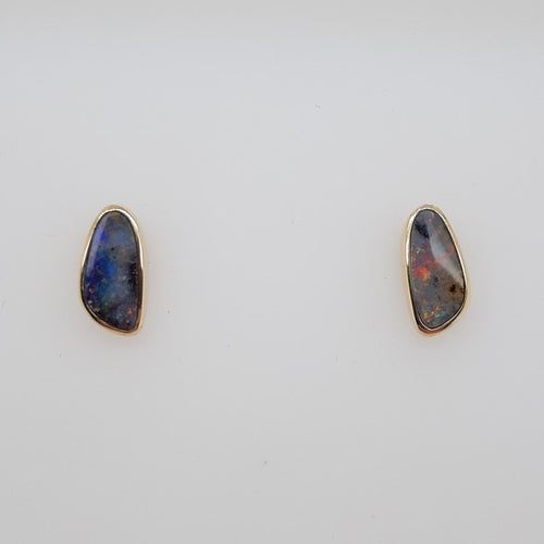Boulder Opal 1.05ct.Earrings set in 14K Y GOLD