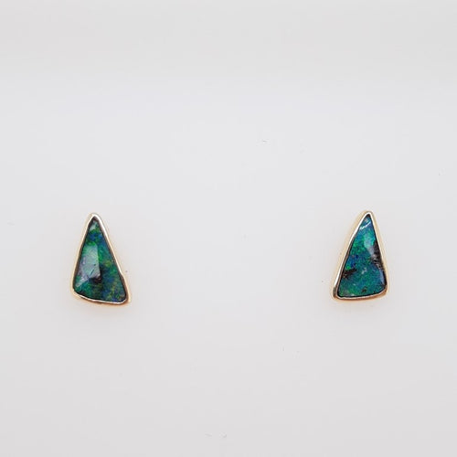 Boulder Opal 0.75ct.Earrings set in 14K Y GOLD